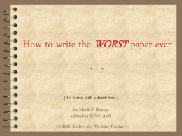How to write the WORST paper ever