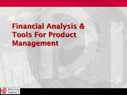 Financial Analysis & Tools For Product Management