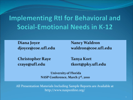 EBD Definition Behavior Intervention within an RtI …