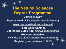 Degree Programmes in the Faculty of Science