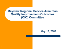 Mayview Regional Service Area Planning Process Allegheny