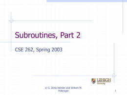 Subroutines, Part 2