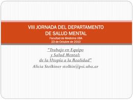 VIII JORNADA DEL DEPARTAMENTO DE SALUD MENTAL …