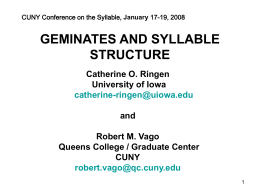 Geminates and Syllable Structure