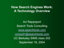 How Search Engines Work - UC Berkeley School of …