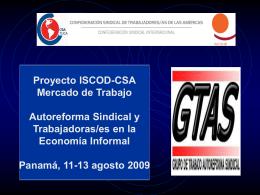 Proyecto ISCOD-CSA Mercado de Trabajo Autoreforma  …