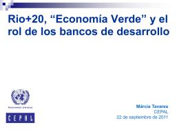 """Rio+20, """"Economia Verde"""" e o papel dos bancos de"""