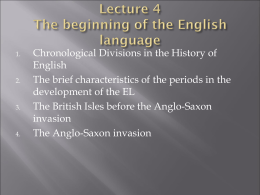 Lecture 4 The beginning of the English language