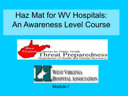 Haz Mat for Healthcare: An Awareness Level Course