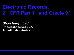 Electronic Records, 21 CFR Part 11