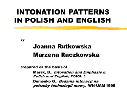 INTONATION PATTERNS IN POLISH AND ENGLISH