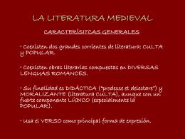 """LA LITERATURA MEDIEVAL - I.E.S. """"La Azucarera"""""""