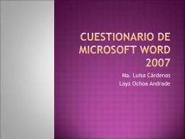 Cuestionario de Microsoft Word 2007