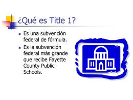 What is Title 1? - Yates Elementary School