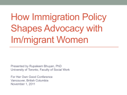 How Immigration Policy Shapes Advocacy with …