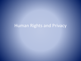Human Rights and Privacy