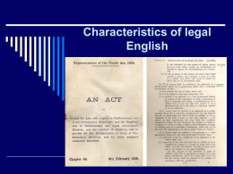 Characteristics of legal English