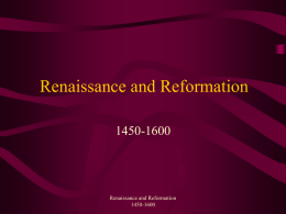 Renaissance and Reformation - Markville Secondary School