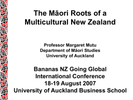 Maori Studies Department University of Auckland MAORI …