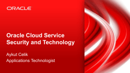Oracle Cloud Service Security and Technology - GTS