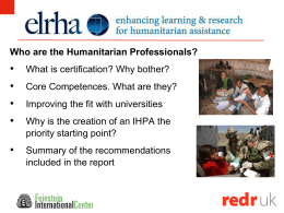 Professionalizing the Humanitarian Sector