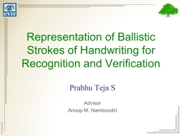 Representation of ballistic strokes for recognition