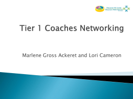 Tier 1 Coaching Networking