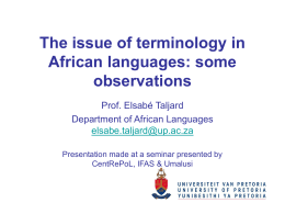 The issue of technical terms in African languages: myths