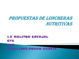 PROPUESTAS DE LONCHERAS NUTRITIVAS - Inicio