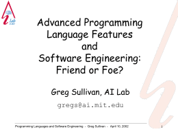 Programming Languages and Software Engineering