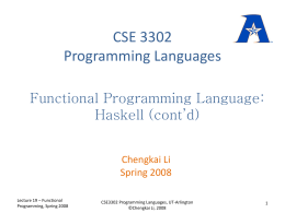 CSE 3302 Programming Languages