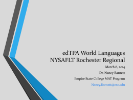 edTPA World Languages NYSAFLT Rochester Regional