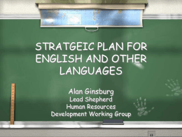 STRATGEIC PLAN FOR ENGLISH AND OTHER LANGUAGES