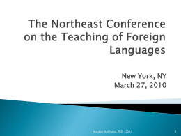The Northeast Conference on the Teaching of Foreign …