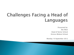 Challenges Facing a Head of Languages