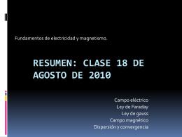 Resumen: clase 18 de agosto de 2010