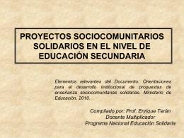 PROYECTOS SOCIO COMUNITARIOS SOLIDARIOS EN EL …