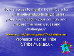MIGRANTS AND MENTAL HEALTH Dr Kate Thompson & …