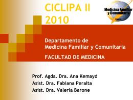 CICLIPA II 2010 Departamento de Medicina Familiar y