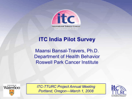 india - summary  - the Roswell Park ITC TTURC