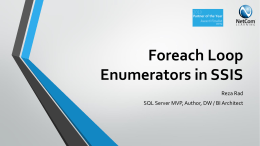 Foreach Loop Enumerators in SSIS