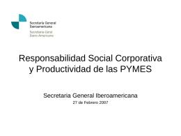 Responsabilidad Social Corporativa Productividad de las …
