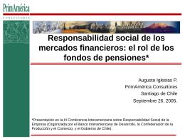 Responsabilidad social de los mercados financieros: el rol