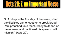 Acts 20: 7, an Important Verse