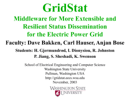 GridStat Current Status - Washington State University