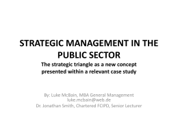 STRATEGIC MANAGEMENT IN THE PUBLIC SECTOR A …