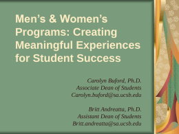Men's & Women's Programs: Creating Meaningful …