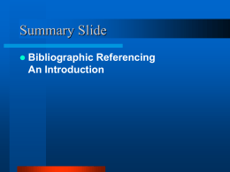 Bibliographic Referencing - University of the West Indies