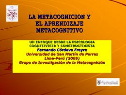 LA METACOGNICION Y EL APRENDIZAJE METACOGNITIVO