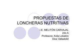 PROPUESTAS DE LONCHERAS NUTRITIVAS